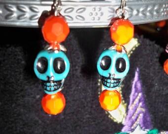 Blue & Orange Skull Earrings