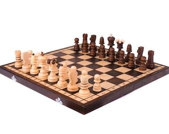 Chess set wood, Wooden chess set, Boyfriend gift, Wood chess set, Mens gift, Husband gift, Wooden chess board