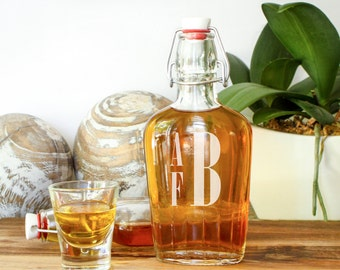 Personalized Monogrammed Glass Hip Flask: Grooms Gift for Him, Groomsmen Favor