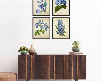 Blue Flowers Botanical Print Set, Botanical Four Print Set, Home Decor, Four Blue Botanicals, Art Reproduction, Flowers 4 Art Print Set m011