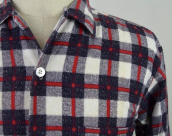 Vintage 1950s/1960s Black, Red and White Check Cotton Flannel Loop Collar Shirt by Big Yank Size Medium