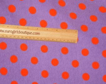 "Light Purple with orange 3/8"" dots Halloween fabric 1 yard knit cotton spandex"
