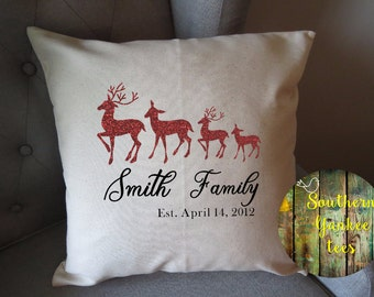 indoor pillow cover only deer stick figure family personalized