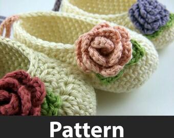 Crochet Pattern - Baby Ballet Flats and Mini Crochet Roses
