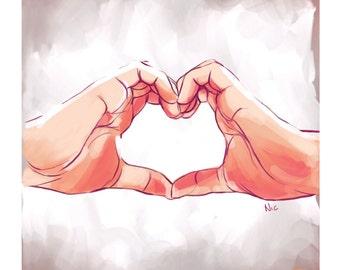 Hands/Heart, Print, 8x10