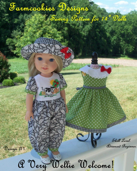 """PRINTED Sewing Pattern: A Very Wellie Welcome! / Sewing Pattern Fit 14"""" American Girl  Wellie Wishers®"""