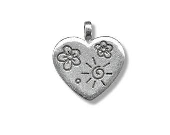 Metal 18mm antique silver heart pendant