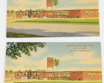 Vintage LITHOGRAPH POSTCARDS LOT Sterling Motel Austin Mn Minnesota Linen