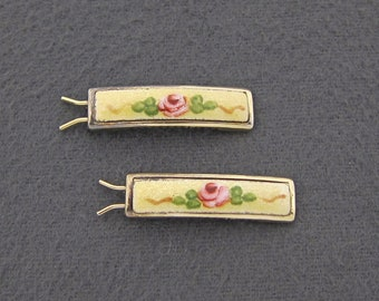 60's vintage hair barrette pair, PETITE gold tone metal clips w yellow enamel guilloche, hand-painted pink roses, pinch-wire clasp