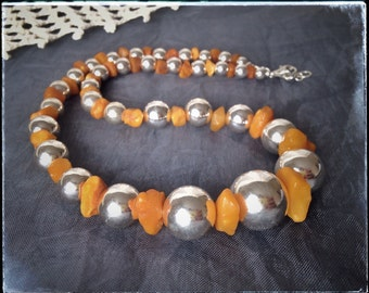 BALTIC AMBER and STERLING silver necklace, natural amber, raw amber, contemporary, elegant, modern necklace, orange necklace, graduated