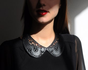 Leather lace collar necklace, Black Peter Pan detachable collar necklace