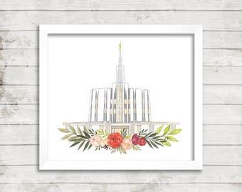Seattle, WA LDS Temple Watercolor Print