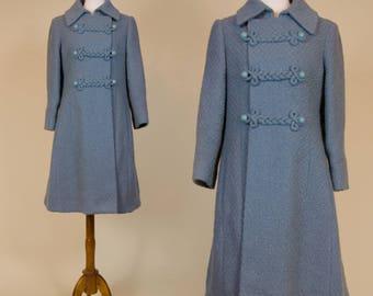 Vintage 1960s Blue Woven Swing Coat