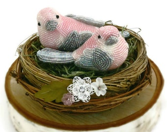 Wedding Cake Topper Figurine Birds Beaded Pink Love Bird Couple Spring Wedding Floral Rustic Twig Nest READY TO SHIP