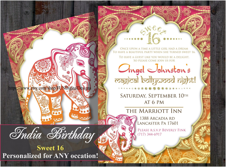 Sweet 16 sixteen Birthday Bollywood Invitation Indian