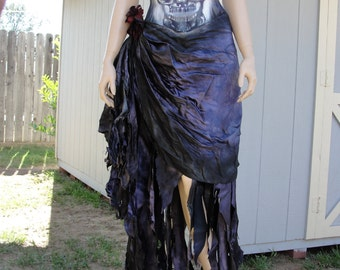 Sugar skull day of the dead Dia De Los Muertos costume wedding gown labeled size 10 fits like 7 small purple corset
