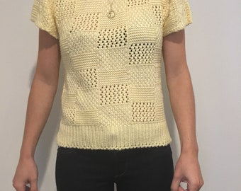 Vintage yellow pointelle knit top