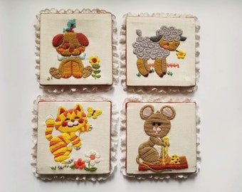 Set of Four Vintage Handmade Crewel/Embroideries, A Mouse, Lamb, Dog and Cat, Vintage Nursery Decor, Lace Trimmed