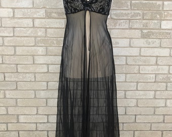 Vintage 90's Black Spaghetti Strap Sheer Lace Nightgown