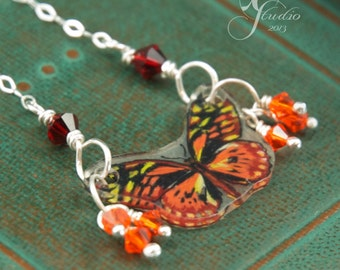 mini Orange Butterfly necklace crystals sterling silver chain necklace made with Hand-drawn shrink plastic