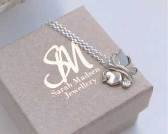 Handmade Classic Butterfly Sterling Silver Pendant Necklace