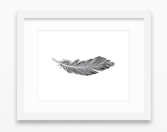 Feather Print, Feather Art, Feather Wall Art, Single Feather Print, Black, Wall Print, Black Feather Print, Horizontal Feather Print