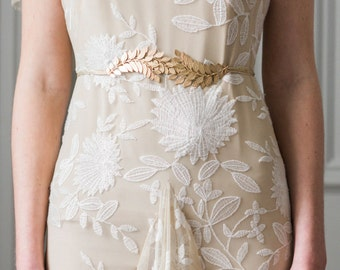Swooping Leaf Sash, Laurel Leaf sash, Grecian Sash, Gold Sash, Silver sash, Leaf Belt, bohemian, boho sash, wedding sash, bridal sash #402