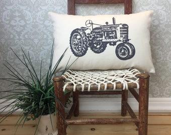 Vintage Tractor Pillow, Tractor theme, Farmall home decor, Farmhouse Decor, Oblong Pillow, Tractor Collectibles, Vintage Farm Decor