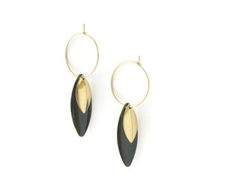 Earrings Hoop Gold and black brass gold plated 24k