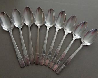 Prestige Plate Grenoble Silverplate Flatware 9 Soup Spoons