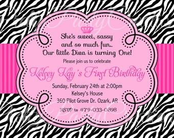 PINK ZEBRA invitation - birthday, baby shower - YOU Print