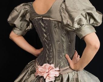 Dress: Alternative wedding dress, unusual non traditional Bohemian bridal gown, olive corset bridal gown, Velvet Tigers UK