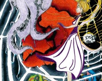 "Original Drawing Illustration Wall Art Fine Art Mixed Media Artwork Oil Pastel Marker Small Size 8.5"" x 11"""