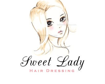 Sweet Lady Hair Dressing- Girls Couture - OOAK Character Illustrated Premade Logo design-Will not be resold
