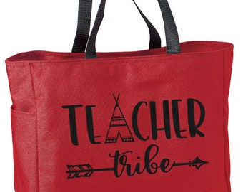 Teacher Tote, Teacher Tribe, Teacher Goody Bag, Personalized Bag, Teacher Appreciation Gift, End of the Year Teacher Gift
