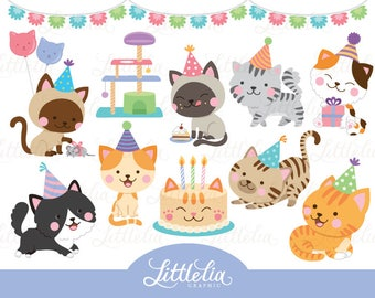 Cat party clipart - cat clipart - 17036