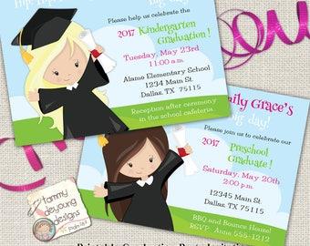 Girls Graduation Invitation, Preschool Graduation Announcement, Kindergarten Graduation Invite, Customized Invitation for kids, You Print