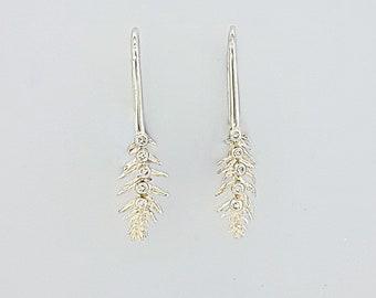 Pine Needle Diamond Earrings