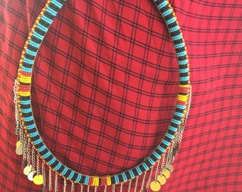 Necklace Mbiraemur Maasai Masai red blue striped big bright colourful authentic fair trade handmade charity African tribal Kenya