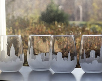 Etched Cleveland Ohio Skyline Silhouette Wine Glasses