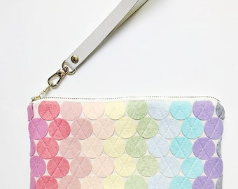 Wrist Wallet Wool Felt Wallet Phone Wallet Clutch Purse Gift for Her Gifts Under 60 Removable Wristlet Ready to Ship Bag Rainbow Bag