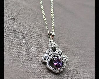 Sterling Silver Amethyst & White Sapphire Necklace