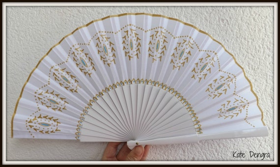 Blue Gold Fancy Hand Fan