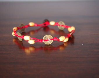 Chainese coins bracelet/red wax rope bracelet/For summer gift New Collection Arrived of summer 2017/sea bracelet/boho/Hawaii/Bikini bracelet