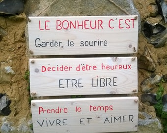 wooden sign with text