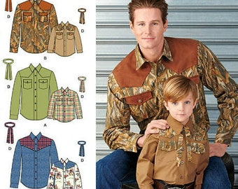 Simplicity 1327 Boy's and Men's Western Shirt and Tie Sewing Pattern / Uncut FF