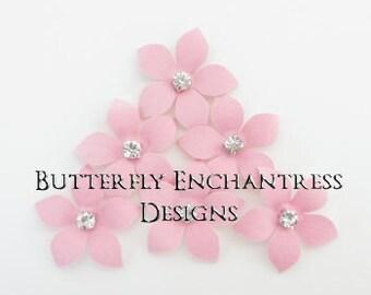 Pink Wedding, Bridal Hair Accessories, Wedding Hair Flowers - 6 Pink Harper Jasmine Flower Hair Pins - Rhinestone Centers