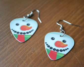 SALE&*****Fun Picks, Fish Hook Snowman Guitar Earings, Made from Upcycle Gift Cards*****SALE
