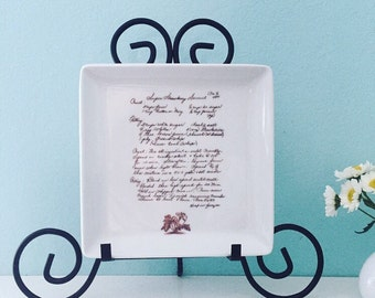 Custom Handwriting Recipe Square Plate Platter for Mothers Day Grandma or Aunt