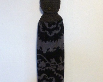 Hanging Kitchen Towel Black and Coal Gray Towel Textured